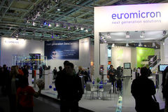 Stand of Euromicron at CEBIT computer expo Stock Image