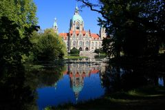 Hannover New Town Hall. With reflection on lake Stock Photography