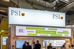 Hannover Niemcy, Kwiecień, - 02 2019: PSI wystawia nowe innowacje przy Hannover Messe zdjęcia stock