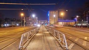 Hannover-Straßenansicht am Winterabend Geschossen auf Kennzeichen II Canons 5D mit Hauptl Linsen stock footage