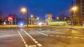 Hannover street view at winter evening. Time lapse stock video footage