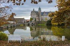 Hannover Tyskland - November 21, 2016: gammal medeltida slott i Tyskland Fotografering för Bildbyråer