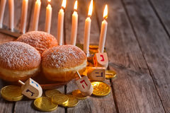 Hannukah doughnuts background Royalty Free Stock Photos