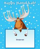 Hannukah_moose. Hanukkah moose holding candles on his horns Stock Image