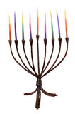 Hannukiah for Hannukah. A wrought iron Hannukiah with colorful candles in place ready for lighting Royalty Free Stock Photos