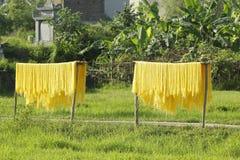 Hanoï, Vietnam : des vermicellis de marante arundinacée les nouilles vietnamiennes spéciales sont séchés sur les barrières en bam image stock