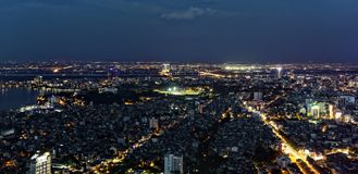 Hanoi antena przy nocą zdjęcie stock