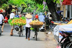 Hanoi Bicycle Street Vendors, Vietnam Royalty Free Stock Images
