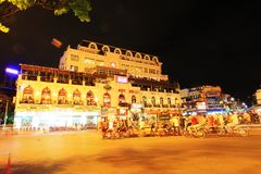 Hanoi Cityscape at Night, Hanoi Vietnam Stock Photography