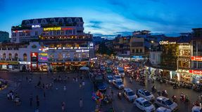 Hanoi city centre on rush hour with heavy traffic Royalty Free Stock Image