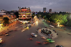 Hanoi city in the evening near the old quarter, Vietnam. Royalty Free Stock Photo