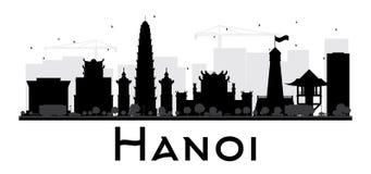 Hanoi City skyline black and white silhouette. Stock Photo