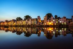 Hanoi cityscape at sunset. Resident buildings by Tien Bien lake, Gia Lam district.  Royalty Free Stock Photography