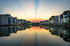 Hanoi cityscape at sunset. Resident buildings by Tien Bien lake, Gia Lam district.  Royalty Free Stock Image
