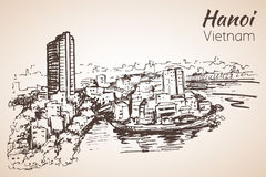 Hanoi cityscape Vietnam skissa stock illustrationer