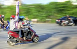 Hanoi Delivery Biker Royalty Free Stock Images