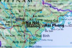 Hanoi en mapa fotografía de archivo libre de regalías