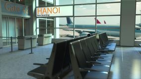 Hanoi flight boarding now in the airport terminal. Travelling to Vietnam conceptual 3D rendering. Hanoi flight boarding now in the airport terminal. Travelling Royalty Free Stock Photography