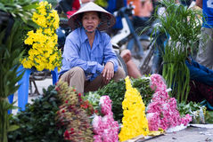 Hanoi Flower Market. HANOI, VIETNAM - JULY 9: a flower vendor is at the sidewalk at the Nghi Tam flower market in Hanoi's Tay Ho district on July 9, 2009. Nghi Royalty Free Stock Photos