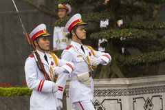 HANOI - Guard of honor. Change of the guard of honor at Ho Chi Minh mausoleum in Hanoi Royalty Free Stock Photos