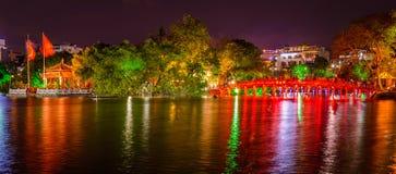 Hanoi Hoan Kiem Lake and Huc bridge at night, Vietnam royalty free stock images
