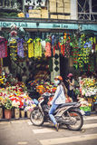 HANOI, JUNE 15, 2015: A lot of stores in the street selling arti Stock Image