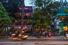 Hanoi by night. A busy cetral street in Hanoi by night Stock Photo