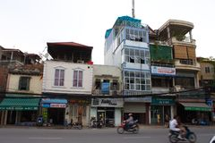 Hanoi old Town. Biuilding and the city life. Travel in Ha Noi Ci Royalty Free Stock Images