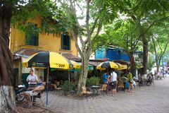 Hanoi old Town. Biuilding and the city life. Travel in Ha Noi Ci Stock Photos
