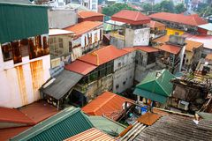 Hanoi Rooftops. The sheet metal rooftops typical of Vietnamese Stock Image