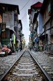 On the Hanoi`s rails in vietnam royalty free stock photos