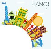 Hanoi Skyline with Color Buildings, Blue Sky and Copy Space. Royalty Free Stock Photo