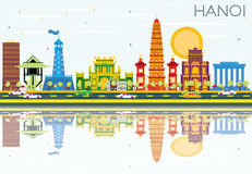 Hanoi Skyline with Color Buildings, Blue Sky and Reflections. Vector Illustration. Business Travel and Tourism Concept with Historic Architecture. Image for Vector Illustration