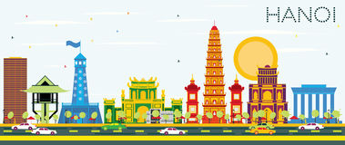 Hanoi Skyline with Color Buildings and Blue Sky. Vector Illustration. Business Travel and Tourism Concept with Historic Architecture. Image for Presentation Royalty Free Illustration