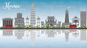 Hanoi skyline with grey Landmarks, blue sky and reflections. Royalty Free Stock Images