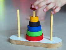 Hanoi Tower. Tower of Hanoi Wooden Toy Puzzle Old Chinese Game royalty free stock photography