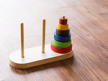 Hanoi Tower. Tower of Hanoi Wooden Toy Puzzle Old Chinese Game royalty free stock photo