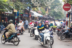 Hanoi traffic in the old quarter stock photos