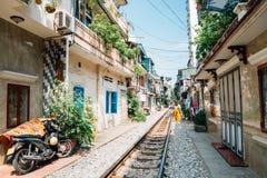 Hanoi train street, old house and railroad at Hanoi, Vietnam. Hanoi train street, old house and railroad in Hanoi, Vietnam stock photography