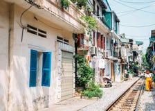 Hanoi train street, old house and railroad at Hanoi, Vietnam. Hanoi train street, old house and railroad in Hanoi, Vietnam royalty free stock photos