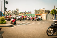 Hanoi Vietam March 3 2014 Life in Vietnam - Street by moto bike is an essential part of life in Vietnam, traffic of. Asian city in rush hour, of people in Royalty Free Stock Image