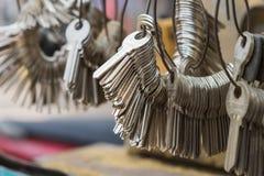 Hanoi, Vietnam - Apr 28, 2015: A bunch of rough shape keys to make key copy in Hanoi street stock images