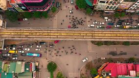 HANOI, VIETNAM - APRIL, 2020: Aerial drone view of crossroad near railway station of one of the districts in Hanoi.