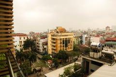 Hanoi, Vietnam - 02 April 2019. Aerial view of Hanoi cityscape at sunset time royalty free stock photo