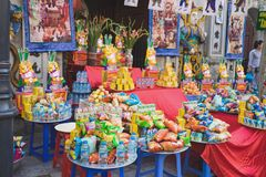 Hanoi, Vietnam - Aug 23, 2015: Offering at old temple in Hanoi on incense offering ceremony day stock image