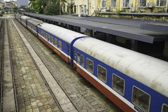 Hanoi, Vietnam - Aug 30, 2015: Railway passenger cars at Hanoi station. Vietnam Railways is the state-owned operator of the railwa. Y system in Vietnam Royalty Free Stock Images