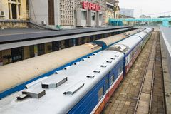 Hanoi, Vietnam - Aug 30, 2015: Railway passenger cars at Hanoi station. Vietnam Railways is the state-owned operator of the railwa. Y system in Vietnam Royalty Free Stock Image