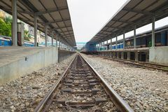 Hanoi, Vietnam - Aug 30, 2015: Hanoi station with rails . Vietnam Railways is the state-owned operator of the railway system in Vi stock images