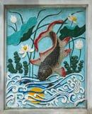 HANOI, VIETNAM, 8 AUGUSTUS 2012; Oude tekening van een vis bij Royalty-vrije Stock Afbeeldingen