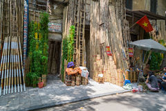 Hanoi, Vietnam - circa September 2015: Bamboo shop on the street in residential area of Hanoi,  Vietnam Royalty Free Stock Photo